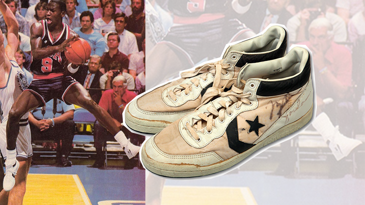 d70ab6fa8e64 A pair of Michael Jordan s Converse Fastbreak Mid that he wore during the  1984 Olympics were sold for a whopping  190