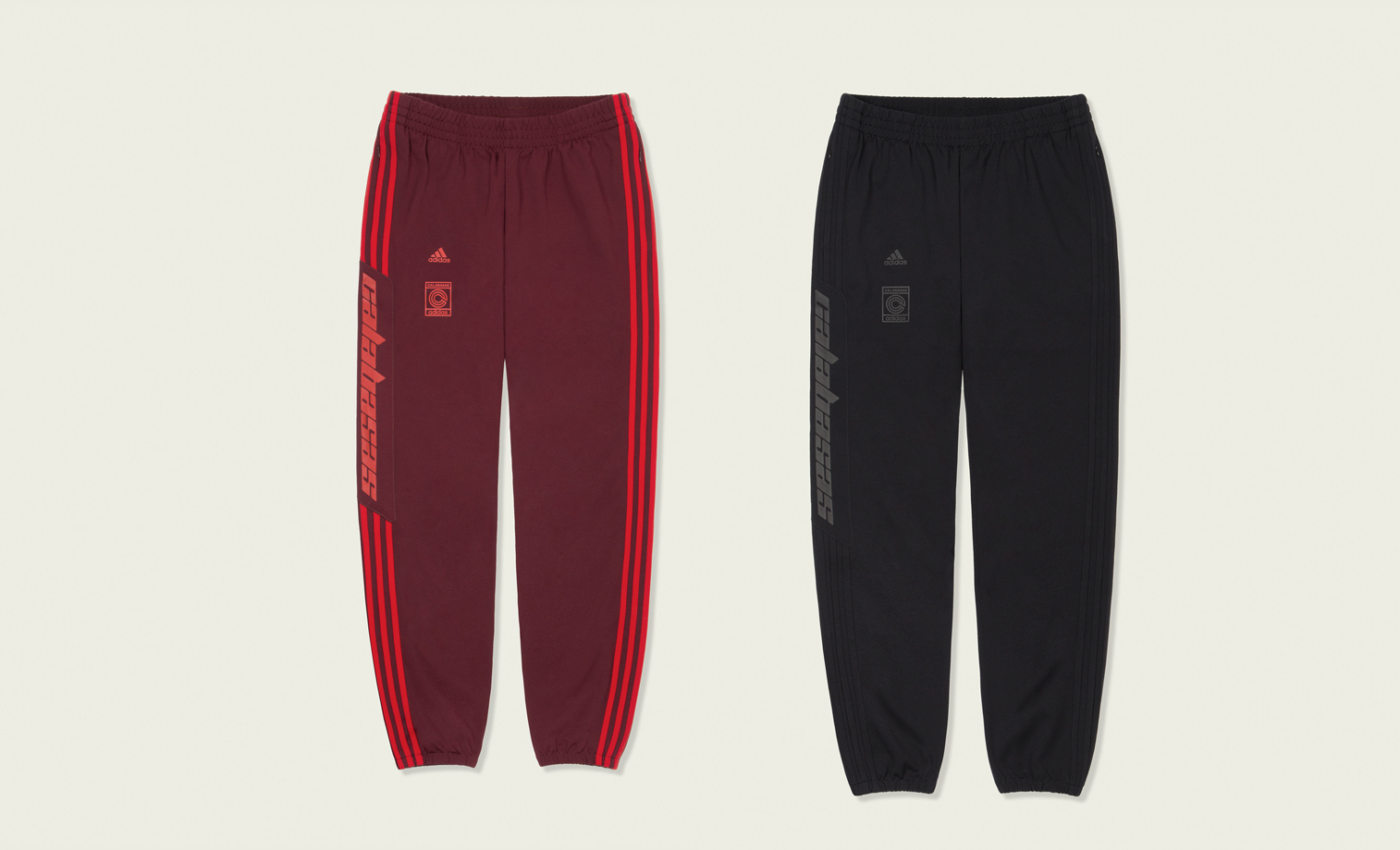 a7353348dd9 Constructed of double-knit nylon fabrication, the pant features 'CALABASAS'  text and contrasting adidas 3-Stripes.