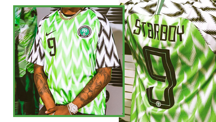 huge selection of 811a5 30e26 Wizkid got a personalised jersey of the new Nigeria kit ...
