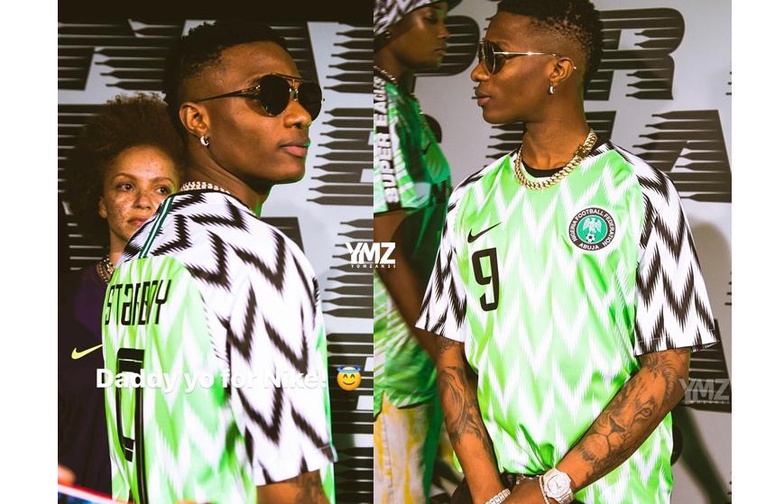 huge selection of 5cf21 4d8c6 Wizkid got a personalised jersey of the new Nigeria kit ...