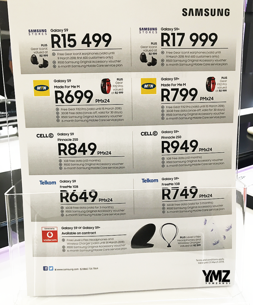 COMPARE PRICING: Samsung Galaxy S9 and S9+ at MTN, Vodacom ...