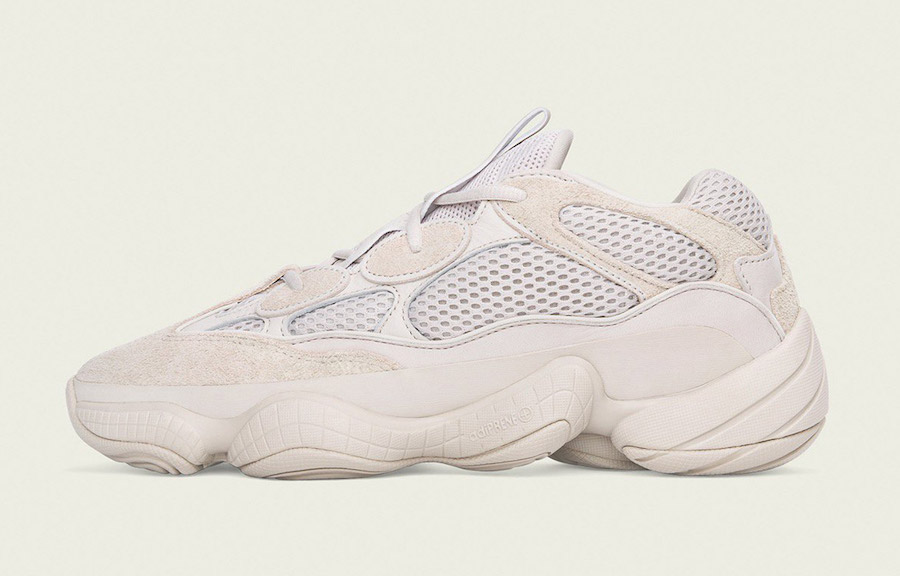 "39a4cc944 The YEEZY Desert Rat 500 ""Blush"" iteration features a neutral colorway on  the upper constructed out of suede"